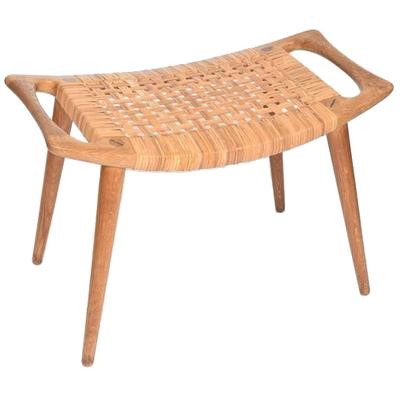 hans wegner woven cane bench