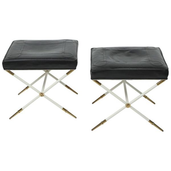 tommi parzinger brass and leather stools