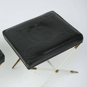 tommi parzinger brass and leather stool top
